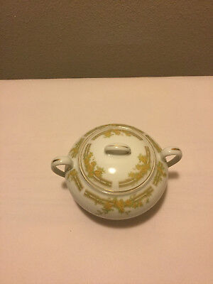 Bavaria sugar bowl w/ gold etching, yellow flowers, w/lid, very good cond.