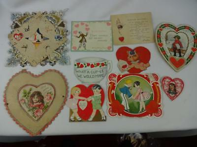 Lot of (10) Vintage Valentine's Card 1920-1930's