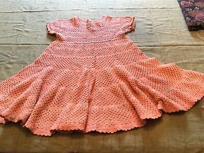1930s-40's Crochet Dress Antique Art Deco Vintage Peach