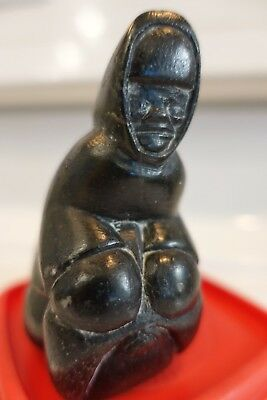 Mathewsie Inuk  Successful Hunter with Walrus Head Vintage  Inuit  Art Carving