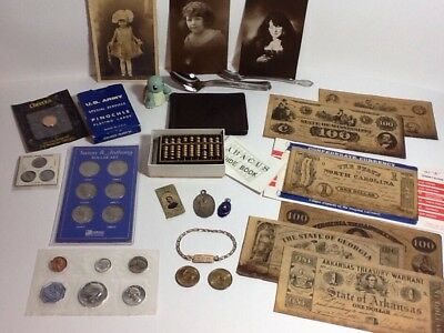 Junk Drawer Lot of Vintage Collectibles (Coins/3-90% Silver), Cards/Jewelry ++