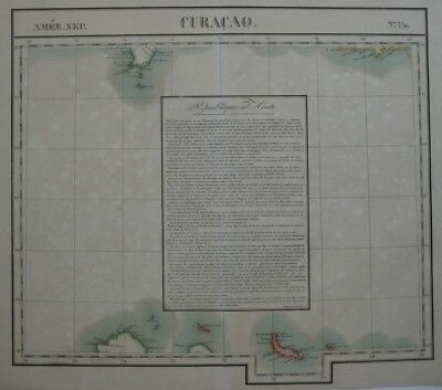 Original 1825 Vandermaelen Map CURACAO ARUBA BONAIRE West Indies Haiti Colombia