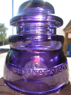 Vintage Hemingray 45 Deep Purple Glass Insulator Colored / Stained CD 155