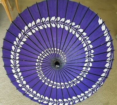 "VINTAGE PURPLE RICE PAPER & BAMBOO ASIAN UMBRELLA PARASOL 32"" Diameter"