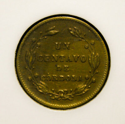 Nicaragua 1 Centavo 1943 Almost Uncirculated Brass Coin - National Emblem
