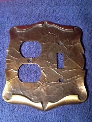 Vintage 60's Amerock Carriage House Antique Brass Double Switchplate Cover