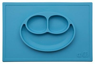 ezpz Happy Mat - One-piece silicone placemat + plate Blue