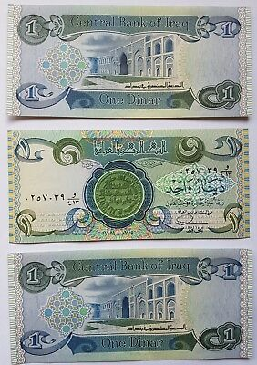 Saddam era ONE IRAQI DINAR  note. 3 consecutive Uncir. notes in mint condition