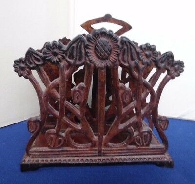Unique ANTIQUE Cast Iron Letter or Napkin Holder Flower Filigree Original Finish