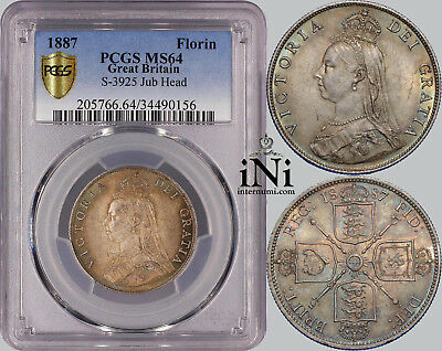 iNi Great Britain, Victoria, Florin, 2 Shillings, 1887, nicely toned, PCGS MS 64