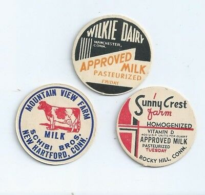 """Three different milk bottle caps from """"Conn."""" #3"""