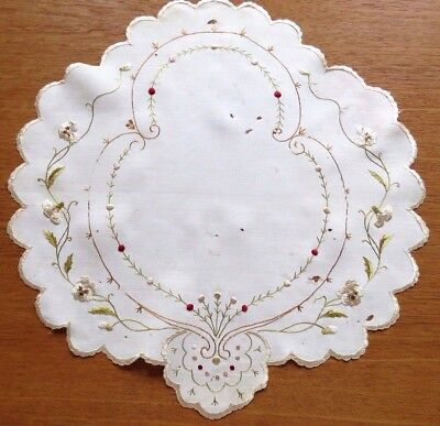 Antique Embroidered Doily Society Silk Embroidery Shabby Use for Craft Projects