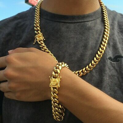 10mm Mens Stainless Steel Cuban Miami Link Bracelet & Chain Set 14k Gold Plated