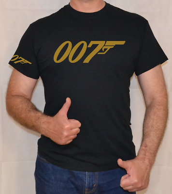 007,james Bond,gold Logo,fun,t Shirt