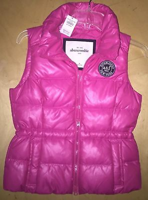 ABERCROMBIE AF Girl's Pink Down Feather Puffy Puffer Vest Medium NEW NWT