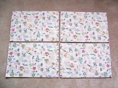 "Longaberger Botanical Fields 4 Placemats 18 ¾"" x 12 ½"" Very Good Used Condition"