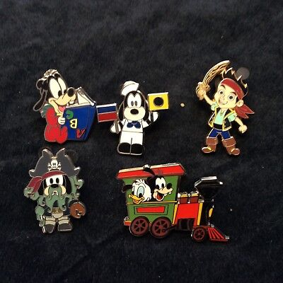 Lot of Disney Collector Pins 5 Different Goofy Baby Pirate Themed Pins