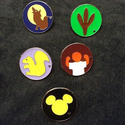 Lot of Disney Collector Pins 5 Different Animal Kingdom Children's Quest Badge