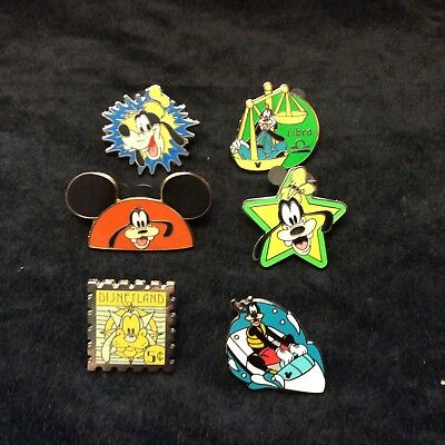 Lot of Disney Collector Pins 6 Different Goofy Only Themed Lanyard Hidden Set BB