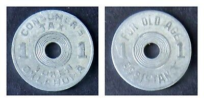Vintage 1940 STATE OF OKLAHOMA CONSUMER'S TAX TOKEN FOR OLD AGE ASSISTANCE 1MILL