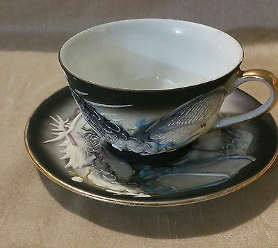 Vintage Japanese Moriage  Hand Painted Teacup &saucer - Dragon Ware