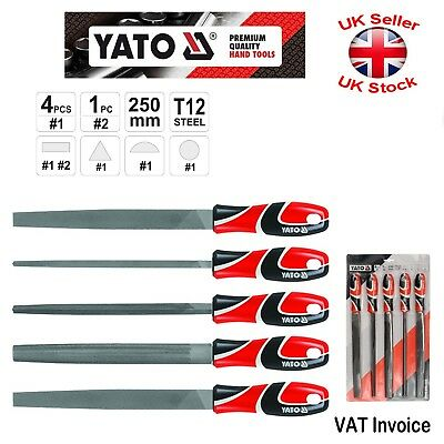 "Yato Professional Metal Long 250mm(10"") T12 Steel Files 5pcs YT-6238"