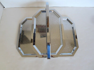 VTG 1930's ART DECO CHASE CHROME FOLDING TIDBIT SERVING TRAY THREE TEIRED TRAYS