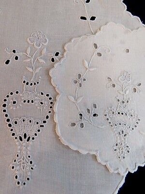 Antique Doilies Embroidered Linen White Cutwork Table Doily Coaster Mats Flowers