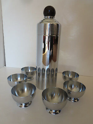 Vintage 1935 Chase Art Deco Blue Moon Cocktail Shaker Bakelite Ball Top Six Cups