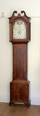 Antique Mahogany English 8-Day Bell Strike Longcase Grandfather Clock, c1800.