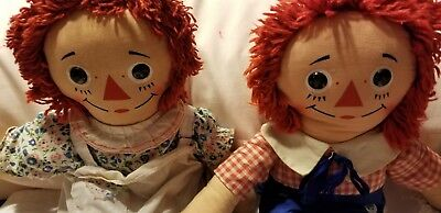 VINTAGE KNICKERBOCKER RAGGEDY ANN AND ANDY DOLLS PAIR 1970's HONG KONG 15 INCHES