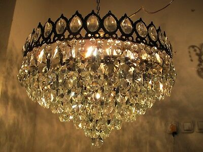 Antique French LARGE Basket Style Crystal Chandelier Lamp 1940's 22in dmtr RAR