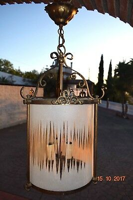 Antique  French  Lantern  Etched Glass Gold Metal Frame Adorable