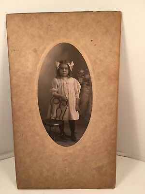 Antique Photo Fancy Girl Bows Ringlets Mounted Embossed Matte Coat of Arms Rare
