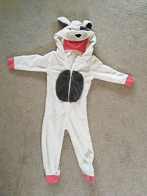Dog One Piece Pyjama Suit Age 3-4 used excellent condition white grey Girls