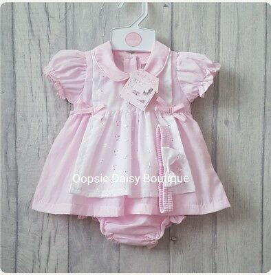 Baby Girls Gorgeous Broderie Anglais Dress with Headband & Bloomers ☆