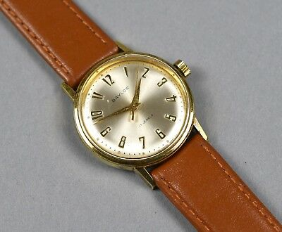 Vintage Baylor Men's Swiss Gold Plated Manual Wind Watch 17 Jewels Leather Band