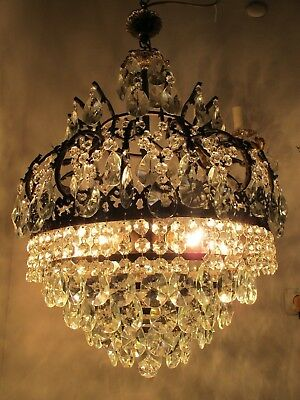 Antique Vnt French Big Cage Style Crystal Chandelier Lamp 1940s 17in diametr--
