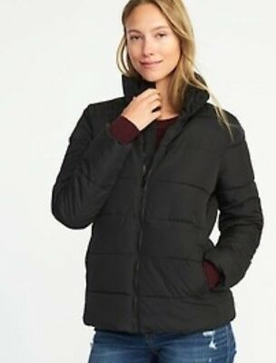 Old Navy Women's Frost Free Puffer Coat Jacket Black Size Large