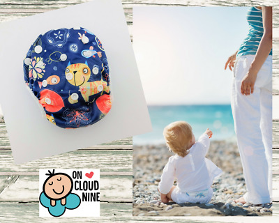 Reusable SWIM NAPPY CATS&FISH  OSFM Baby Diaper Pants Swimmer Newborn to Toddler