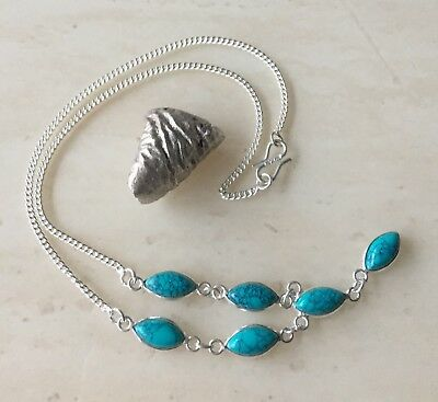 Lovely Turquoise Gemstone & 925 Sterling Silver Necklace