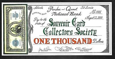 Tim Prusmack Print - Drawn Check for Donation to SCCS - Aug. 2000 - Uncirculated