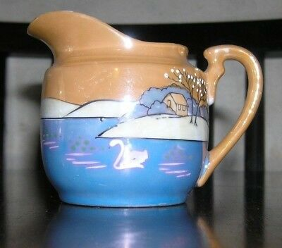 Lusterware Peach and Blue Pitcher Cottage on Lake