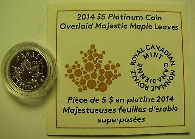 2014 Proof $5 Overlaid Majestic Maple Leaves 1/10oz .9995 Platinum COIN&COA ONLY