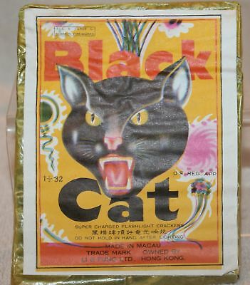 vintage BLACK CAT Supercharged Flashlight Firecracker package Label only Yellow
