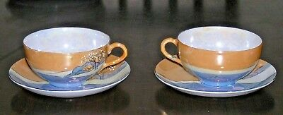 (2) Lusterware Peach and Blue Cup Saucers Cottage on Lake