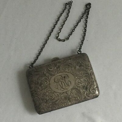 Watrous Sterling Silver Antique Ornate Purse W/chain Handle Hallmarked