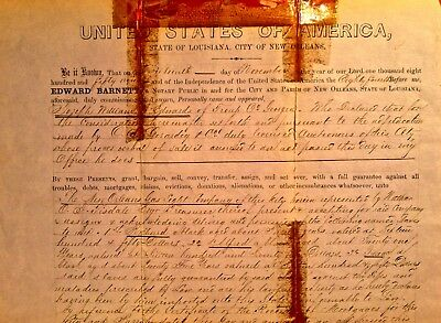 Authentic 1859 Slave Document New Orleans W/ Verified Original Notary Seal RARE