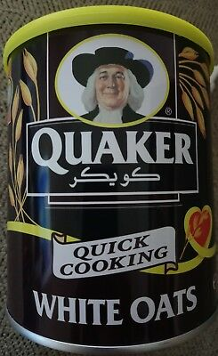 Quaker Oats 500 grams (17.6 oz) Empty Tin Made in Dubai UAE, Arabic Writing