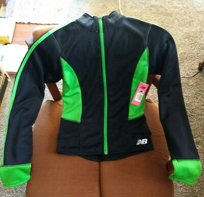 New Balance Girls Fleece Lined Zip Up Track Jacket (14/16, black and lime)New